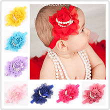 12Clrs New Fashion Hot children Infant Baby Toddler girls Rose Pearl flower Headband Headwear Hair Band Head Piece Accessories