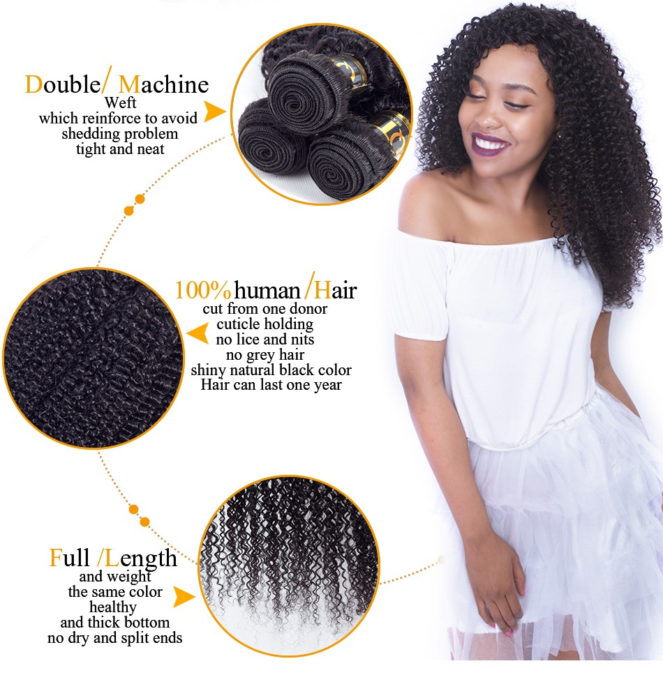 QThair Brazilian Kinky Curly Weave Human Hair Can Buy 3/4 Bundles or More Natural Black Color Non-remy Human Hair Weaving