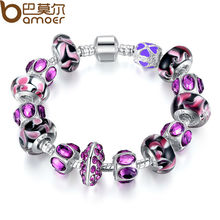 Buy BAMOER Fashion European Style Silver Charm Bracelet Purple Murano Glass Beads DIY Fashion Jewellery PA1319 for $4.76 in AliExpress store