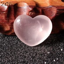 KiWarm Rose Pink Crystal Quartz Stone Heart Shape Healing Gemstone Craft Home Wedding Party Office Decor Holiday Gift 30mm*25mm