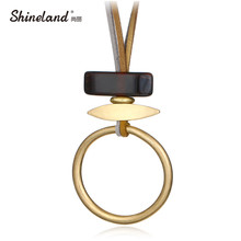 Shineland New Design 2 Layers Gold Silver Color Round Resin Stone Necklaces Pendants Fashion Punk Unique Long Collares Mujer(China)