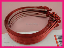 10PCS Dusty Rose satin ribbon single covered 5mm Metal Hair Headbands satin lined wire hairbands wholesales