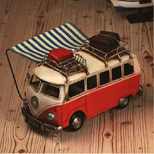 Hand made Tin Model Retro Classic Volkswagen Camper Van Craft Desktop Display quality art work Home Decoration kid toy gift(China)