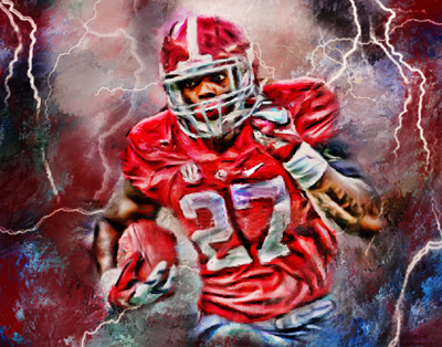 "TOP ART PAINTING--ALABAMA CRIMSON TIDE DERRICK HENRY FOOTBALL -100% hand painted OIL painting- 36 "" -free shipping(China (Mainland))"