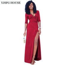 YJSFG HOUSE Elegant Women Formal Evening Party Dress Sexy V-neck Split Long Maxi Dress Autumn Ladies Slim Fit Tunic Robe Femme(China)