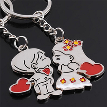 1Pair Couple Love Keychain Cartoon Key chain Lovers Key ring Women Wedding Jewelry Accessory Valentines Gift