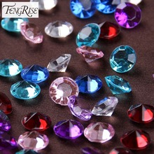 FENGRISE 500pcs 8mm Acrylic Crystals Diamond Confetti Wedding Table Scatters Decoration Event Party Centerpiece Supplies(China)