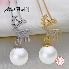 [MeiBaPJ]Fawn Genuine S925 Sterling Silver Pendants For Women Fashion Natural Pearl Christmas gifts for children(China)