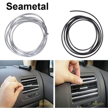 1m2m3m Car Styling Interior Strips Air Conditioner Outlet Vent Grille Chrome Trim Decoration Strip Brand Stickers on Car-Styling