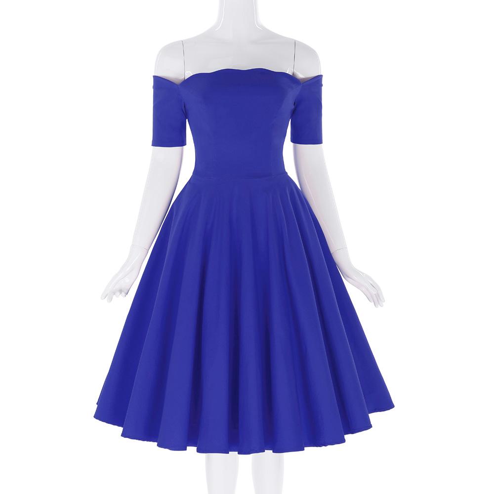 Belle Poque 17 Women Dress Robe Vintage Off Shoulder Black Summer Dress Jurken 1950s 60s Retro Rockabilly Swing Party Dresses 35