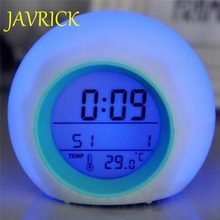 JAVRICK New Nature Sound 7 Color Digital LED Glowing Change Thermometer Clock Alarm Hot HXP001