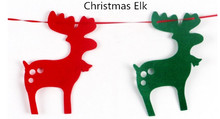 Christmas Elk Pattern Colorful Christmas Flag DIY New Year Hanging Flag Party Decoration free shipping wholesale Xmas ornaments