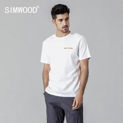 SIMWOOD 2019 летняя новая футболка мужская 100% хлопковая футболка с надписью плюс размер высокое качество Топы Повседневная футболка 190136