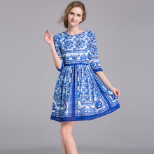 Casual Dress New Summer New Fashion Designer Half Sleeve Slim Blue And White Print Classic Above Knee 2017 Print Dress