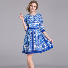 Casual Dress New Summer New Fashion Designer Half Sleeve Slim Blue And White Print Classic Above Knee 2017 Print Dress(China)