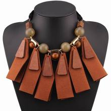 brown wood bead leather pendant chunky statement black rope ladies necklace choker gift 2017 brand new design fashion necklace