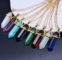 Natural Stone Bullet Shape Healing Point Pendant Necklaces Gem Crystal Stone Quartz Pendant Necklace Women Jewelry Of N191(China)