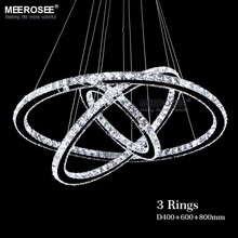 Modern Chrome Chandelier Crystals Diamond Ring LED Lamp Stainless Steel Hanging Light Fixtures Adjustable Cristal LED Lustre