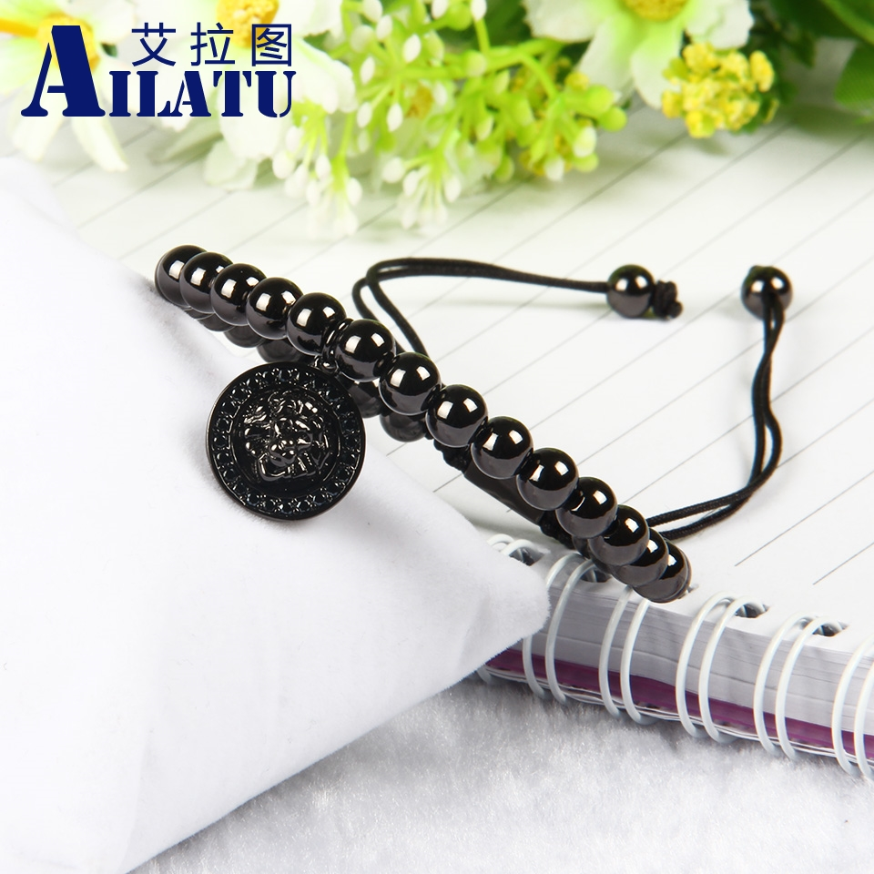 Ailatu Tide Male Personality Jewelry 6mm Brass Beads Micro Inlay Black Cz Lion Head Charms Pendants Macrame Bracelet(China (Mainland))