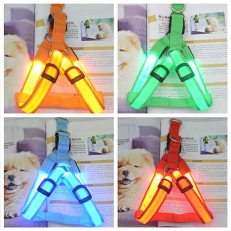 PET Nylon LED Dog Harness Pet Cat Dog Collar Harness Vest Safety Lighted Dog Harness Pet Dogs Luminous Fluorescent Collars