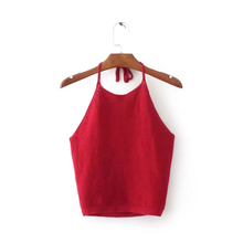 Buy New Sexy Women Red Halter Strap Sweater Vest Crop Tops Vest Tank Tops T-Shirt cropped feminino Tank Tops Summer 2018