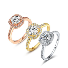 Classic Women Rings Women Anillos Rose Gold Color Wedding Bridal Finger Ring with Square Crystal Jewelry(China)