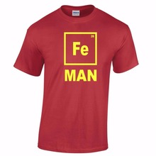 New 2017 Summer Fashion Iron Man T Shirt Funny Chemistry Shirt Periodic Table Elemental Geeky Fe