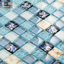2017  Fashion Blue Crystal Glass mixed Shell Resin Mosaic tiles wall sticker kitchen backsplash swimming pool shower floor tile