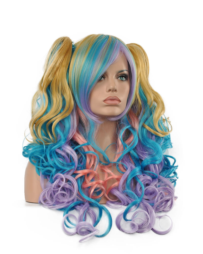 FREE SHIPPING Hot Sell!!! Beautiful Ladies Women Long Multicolor Curly Hair Full Wigs Cosplay Wigs<br><br>Aliexpress