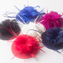 2017 Women Feather Birdcage Fascinator Red Fuchisa Navy Blue Floral Wedding Hat Sinamay Fascinator Hat Feather Party Pillbox Hat