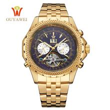 Mechanical Automatic Watches Men Luxury Brand OUYAWEI Tourbillon Wrist Watch Stainless Steel Business Black Gold Wristwatches