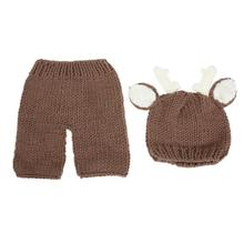 Buy 2pcs/set Winter Newborn Photography Props Warm Baby Crochet Cartoon Deer Costume Set Knitted Baby Hat Pants Cute Infant Clothes for $6.00 in AliExpress store
