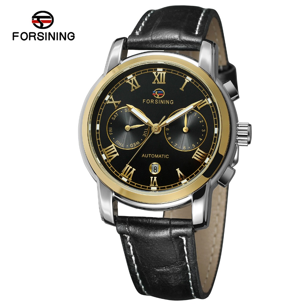 FORSINING Mens High End Vintage Automatic Self-wind Leather Strap Factory Watch with Complete Calendar Transparent Wiindow<br>