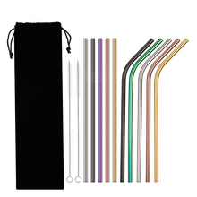 EIMAI 2Pcs Colorful 304 Stainless Steel Straws Reusable Drinking Straw High Quality Bent Metal Straw with Cleaner Brush A01(China)