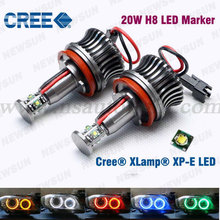 High Power H8 H11 20W Cree Chips LED Angel Eyes LED Headlights for BMW E60 E61 E63 E70 E71 E87 E89 E90 E92 E93 WHITE BLue Red