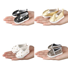 "1 Pair Fashion Five-pointed Star Leather Doll Shoes 18"" American 43cm Baby Born Doll Accessories(China)"