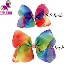 "4 Pcs/lot 7"" Or 5.5"" Rainbows Hair Bows Boutique Big Ribbon Rainbows Hair Bow With Alligetor Clips For Kids Girl Hair Accessorie(China)"