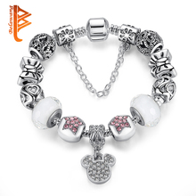 BELAWANG Authentic Silver Color Crystal Bow Star Charms Bracelet Murano Glass Beads Bracelet For Women Girls Fashion DIY Jewelry