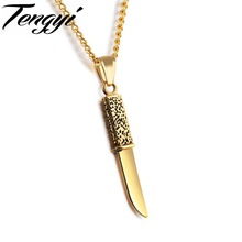TENGYI Mini Dagger Design Pendant Men Necklaces Vintage Fashion Stainless Steel Jewelry Knife Necklace For Cool Men Gifts TY1186