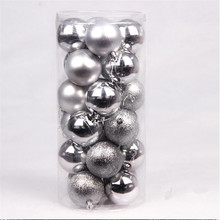 24pcs/Barrel Christmas tree Ball Silver Matte mixed 4cm Balls Accessories Free Shipping High Quality DN205-2