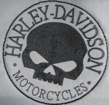 Big Skull Harley Davidson motorcycles design stone motif hot fix rhinestone transfer motifs iron on rhinestone motifs for shirt