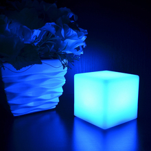 2pcs 24Key Remote Control 15*15*15CM LED Cube Table Light Holiday Wedding Bar Party Event Christmas Desk 16 Colors LED Lights