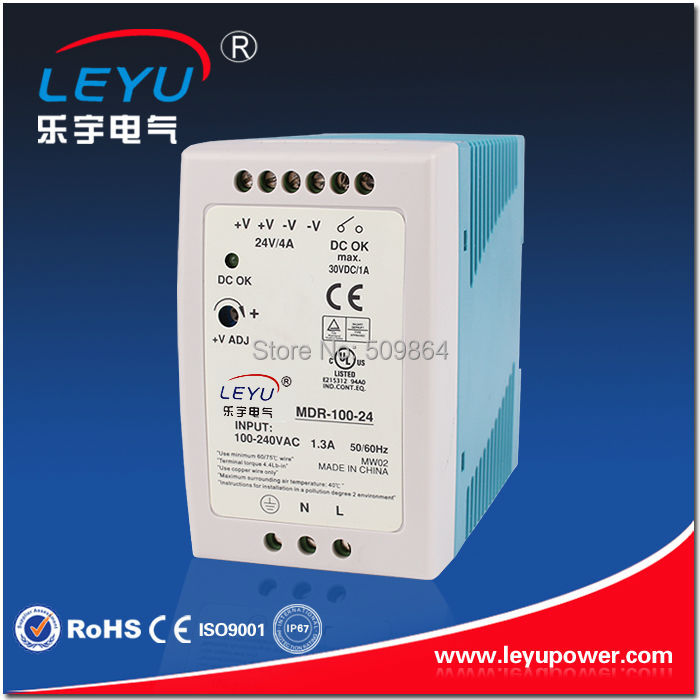 Compact size MDR-100-24 din rail led driver 100w 24v output dc dinrail power supply<br><br>Aliexpress