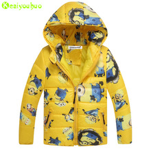 KEAIYOUHOU 2017 Spring Winter Boys Jacket For Boys Hooded Minions Jacket Coats Kids Warm Outerwear Coat Children Clothes 10 Year