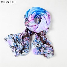 VISNXGI 2017 Fashion Bandana Luxury Scarve Woman Brand Silk Scarf Women Shawl High Quality Print Hijab For Wholesale 110*190cm(China)