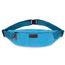 2016 Vintage Canvas Match Leather Waist Bags Portable Small Capacity Men and Women Fanny Waist Pack Belt Bag(China)