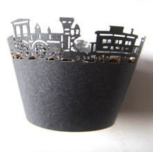 factory free shipping 12x black train birthday cupcake liner paper muffin baking cup cake case wrapper(China)