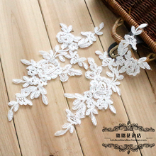 Mirror pair hair accessory veil milky white wedding dress diy small 25*11cm(China)