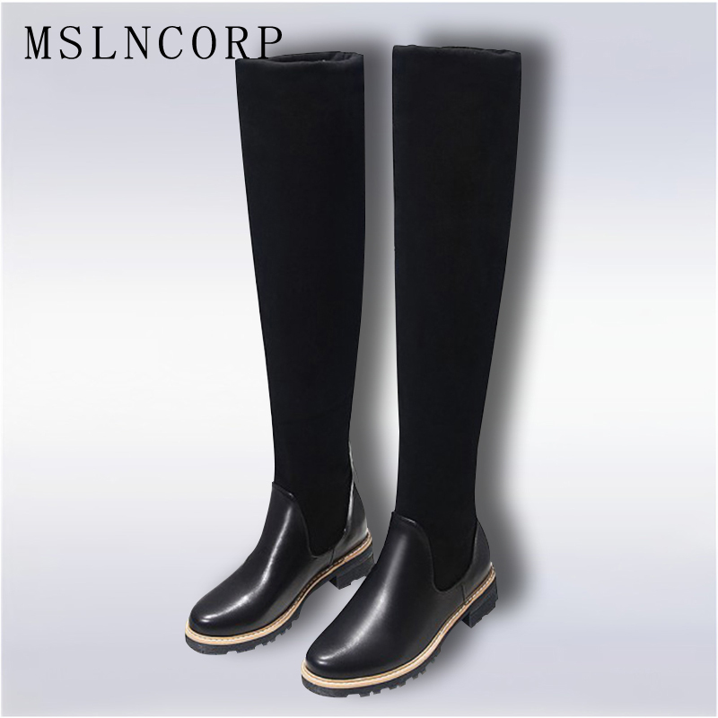 Size Fashion 34-43 New Ladies Shoes Square Low Heel Women Over The Knee Boots Scrub Black Woman Stretch Fabric Motorcycle Boots<br>