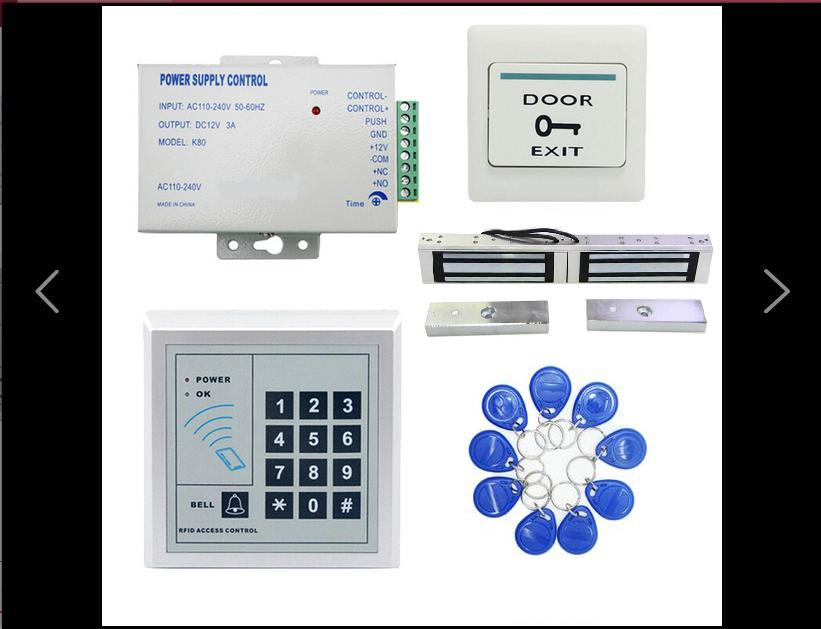 RFID glass wooden door access control kit with 180kg door electric magnet lock +power supply+proximity keypad+keyfob+push button<br>